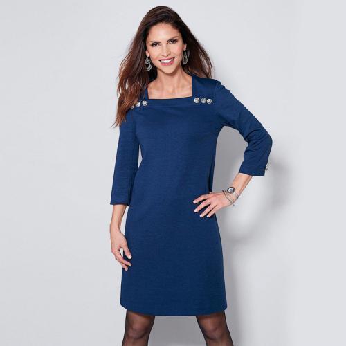 db56e05b37e0 3 SUISSES - Robe courte manches 3 4 boutons fantaisie femme - Bleu Dur -