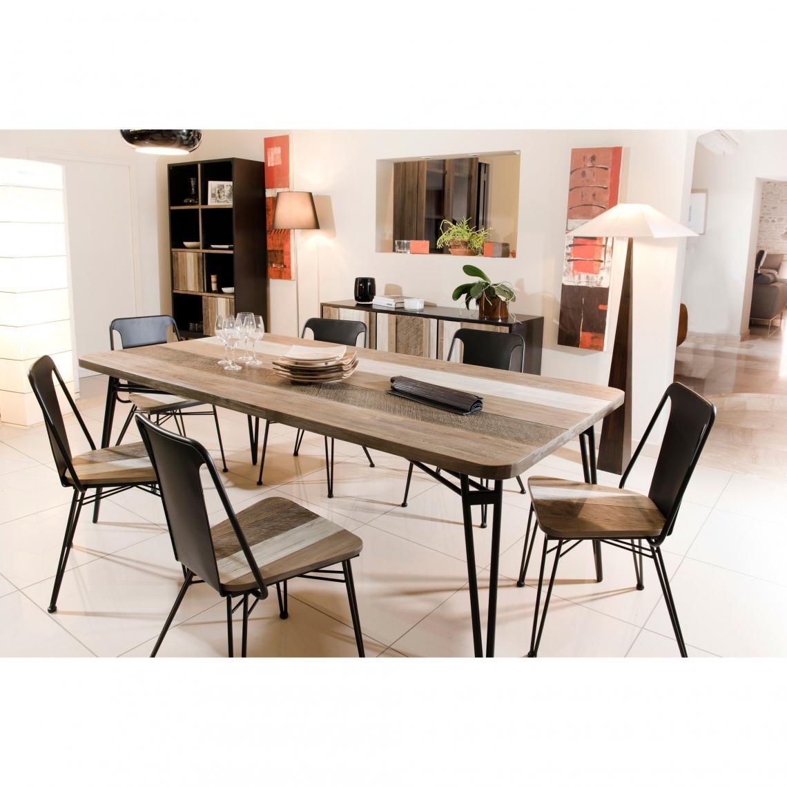 Table À Manger Industrielle table à manger rectangulaire pieds épingle 200 x 100 industriel -  multicolore plus de détails