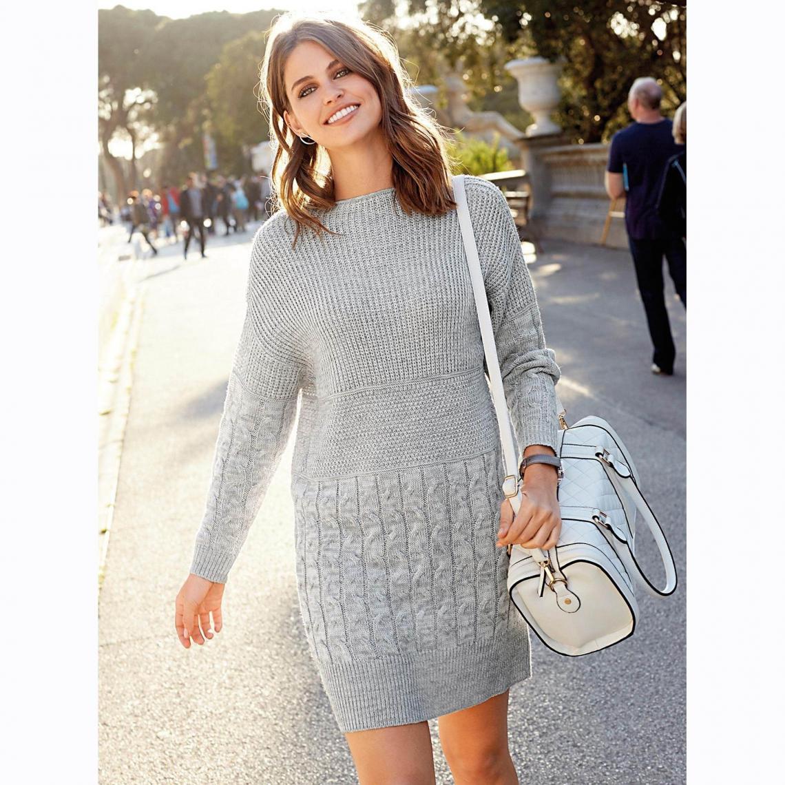 Courte Perle3 Femme Longues Tricot Robe Tresses Manches Gris H29DIWE