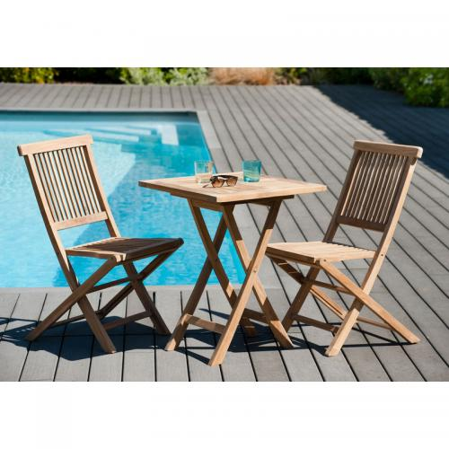 MACABANE - Ensemble table carrée pliante 60 cm + 2 chaises pliantes en teck massif Java - Teck - Ensemble table, chaise