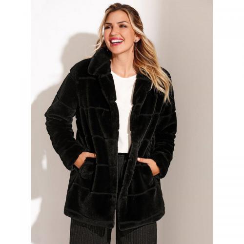 78d90af9bc49 3 SUISSES - Manteau doublé fermeture par pressions poches femme - Noir - Manteaux  femme