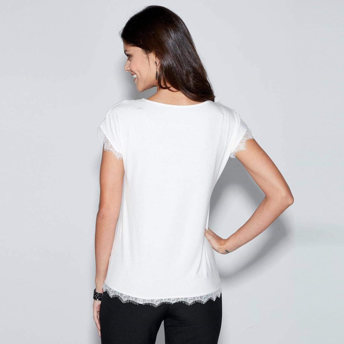 Tee-shirt sans manches col V dentelle femme Exclusivité 3SUISSES ... 2df666ab725