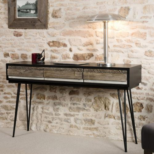 3 SUISSES - Console 3 tiroirs pieds épingle en métal style industriel - Multicolore - Tables basses