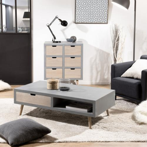 3 SUISSES - Table basse 1 niche 2 tiroirs - Gris bâton - Tables basses