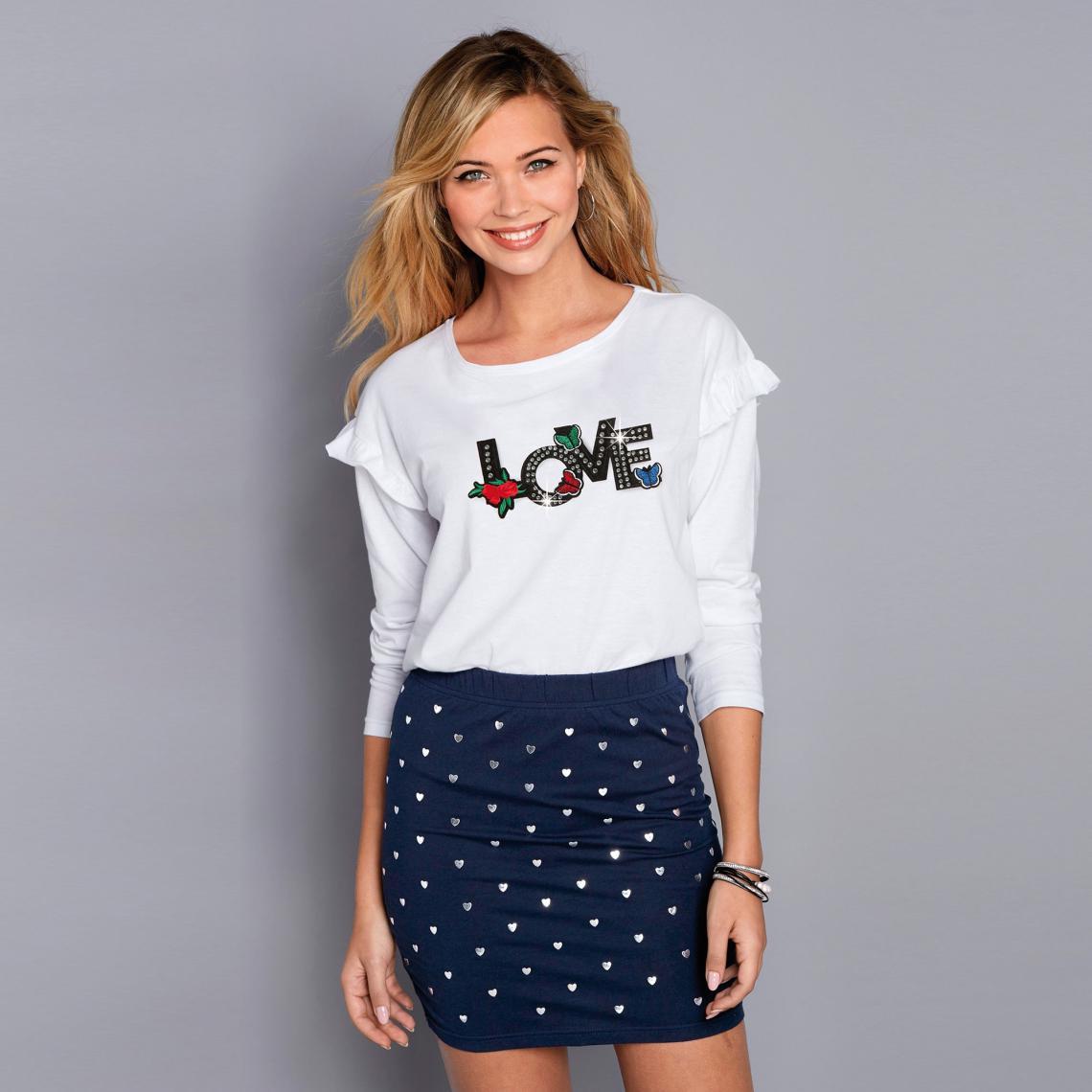 acb95c64c558e Tee-shirt manches longues volants lettres et strass fantaisie femme - Blanc
