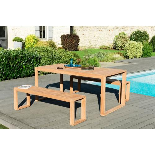 MACABANE - Ensemble table rectangulaire + 2 bancs en teck massif - Salon de jardin