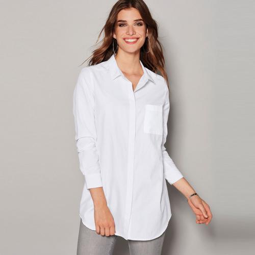 Chemise manches longues bas arrondi femme Blanc 27 avis 45