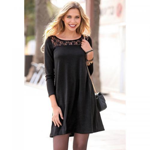 ac901e8b5780 3 SUISSES - Robe courte évasée manches longues guipure et ouverture dos  femme - Noir -