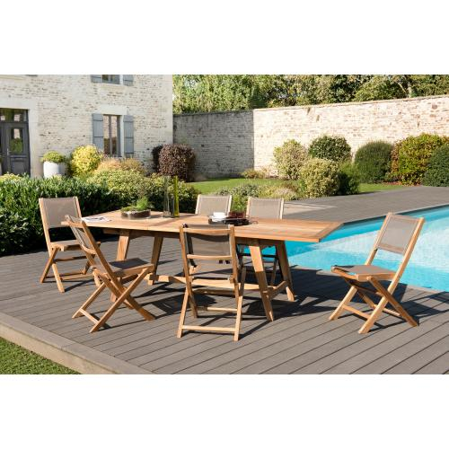 3 SUISSES - Ensemble table rectangulaire extensible + 6 chaises pliantes - Le jardin