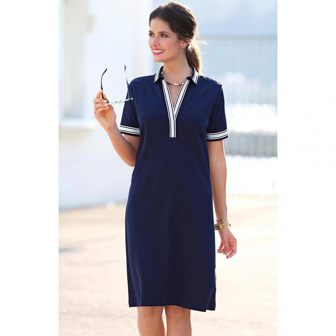 Robe courte col chemise manches courtes femme Exclusivité 3SUISSES - Bleu  Marine 3 SUISSES Femme 4240d4f3aed