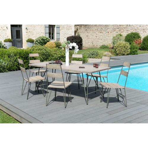 3 SUISSES - Ensemble table rectangulaire + 6 chaises en teck massif et pieds épingle en métal - Ensemble table, chaise