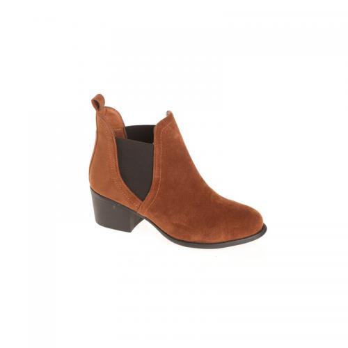 bcda280402571b 3 SUISSES - Bottines élastiques latéraux femme - Marron - Chaussures femme