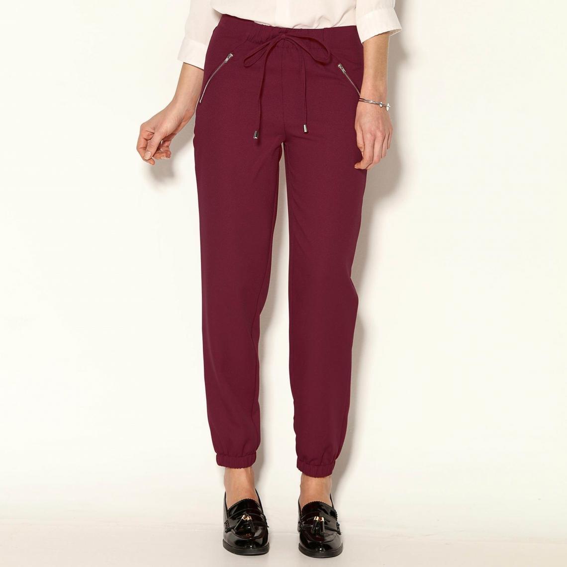 2d3b88f1a33f Pantalon taille et bas élastiqués froncés femme - Rouge Grenat
