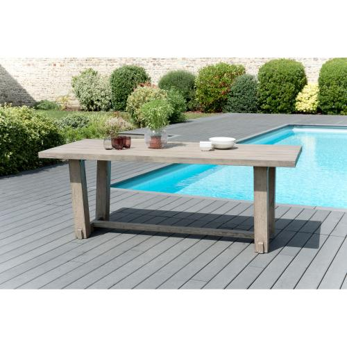 3 SUISSES - Table à manger rectangulaire 4/6 personnes en teck massif - Table de jardin