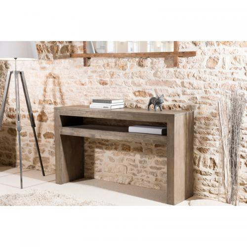 3 SUISSES - Console rectangulaire avec tablette - Gris Tabac - Salon