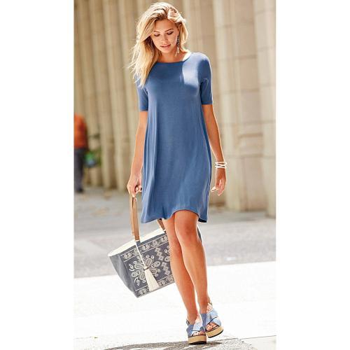1961227c018 3 SUISSES - Robe col rond finition evasée femme - Bleu - Robe courte
