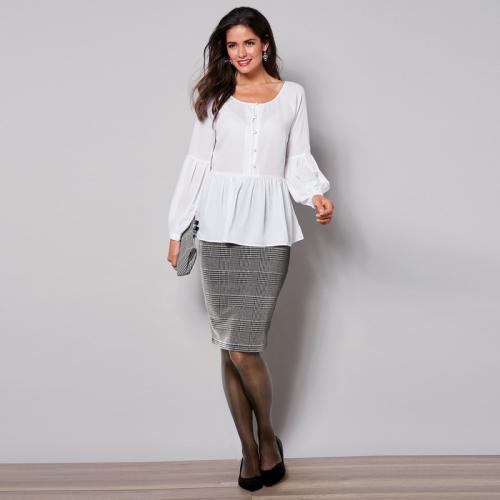 5210ee4bf2ff 3 SUISSES - Jupe crayon à carreaux taille élastique femme - Carreaux noir    blanc -
