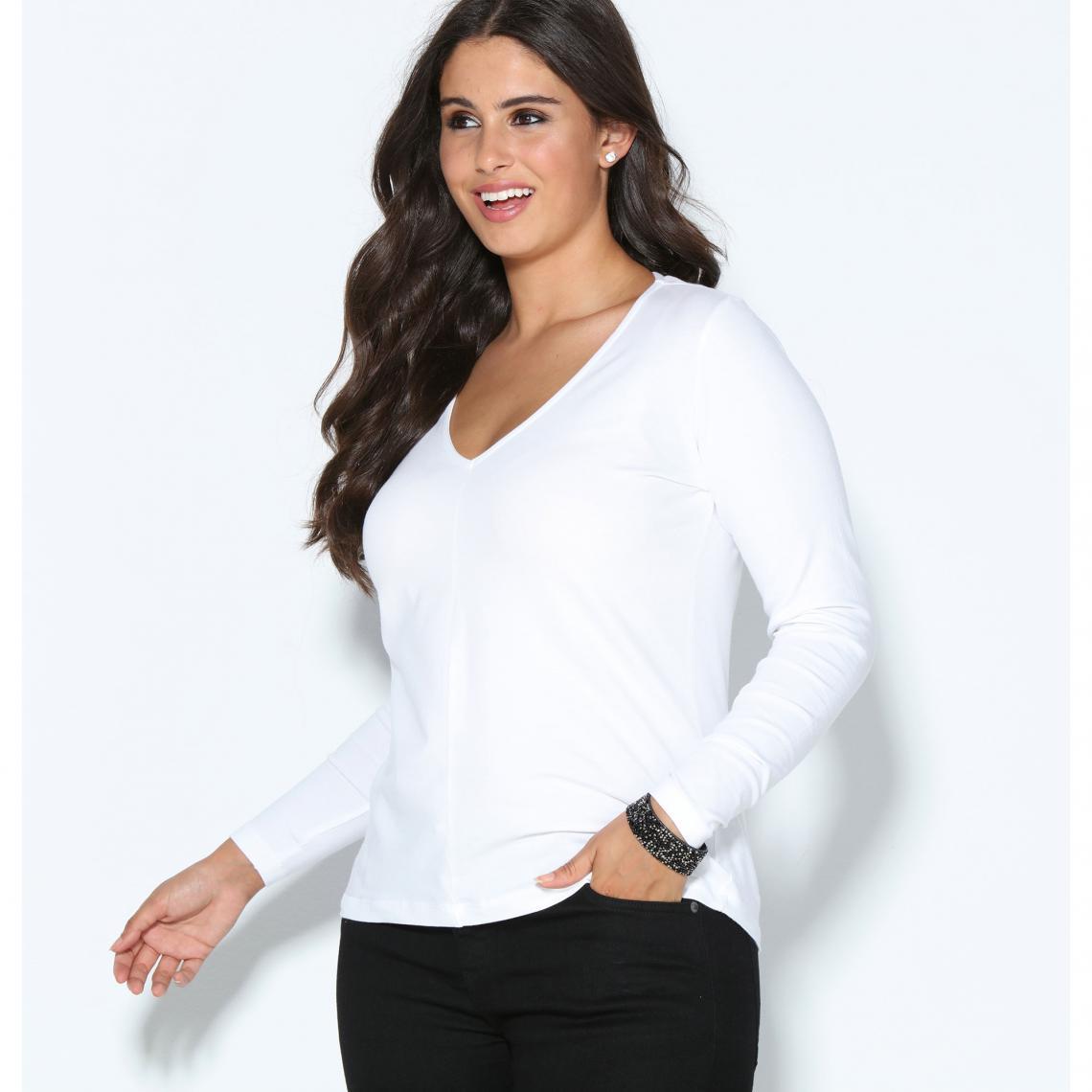 6f245cd6863 Tee-shirt manches longues col en V femme - Blanc 3 SUISSES Femme