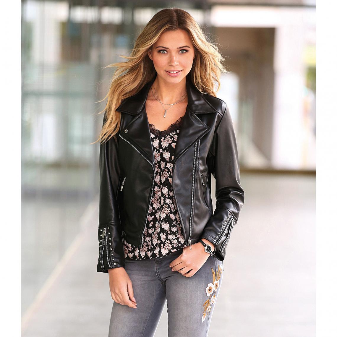 acheter en ligne ec205 96963 Blouson perfecto zippé et doublé punaises femme - Noir | 3 ...