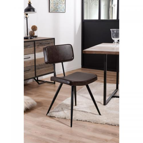 Macabane - Lot de 2 chaises James - Marron - Chaise