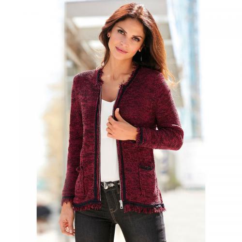 a900cfd889e86 3 Suisses - Gilet zippé manches longues et franges femme Exclusivité  3SUISSES - Rouge Grenat -