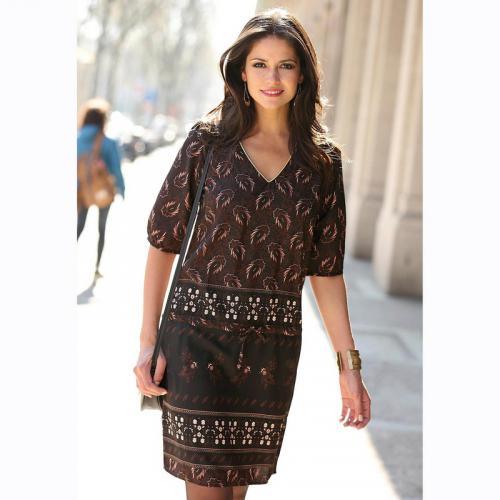 26ad2322175d 3 SUISSES - Robe imprimée manches aux coudes biais doré femme - Imprimé Noir  - Robes