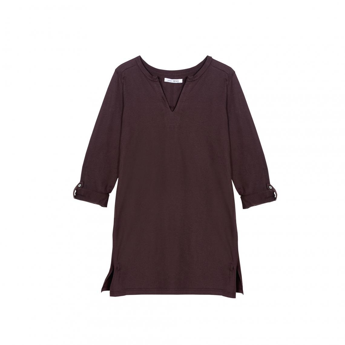 Promo : Tee-shirt long fendu manches longues ajustables - Marron Foncé - 3 SUISSES - Modalova