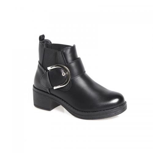 3aedcb7722b 3 SUISSES - Bottines à talon élastiques latéraux lanière et boucle femme -  Noir - Boots