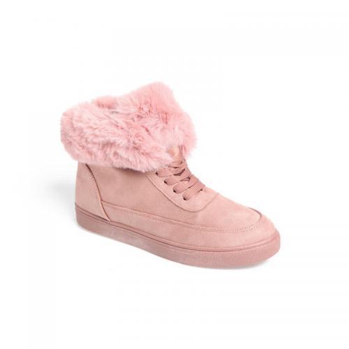 4ae2631ff3333 3 SUISSES - Baskets montantes à lacets et fourrure femme - Rose - Promos  chaussures