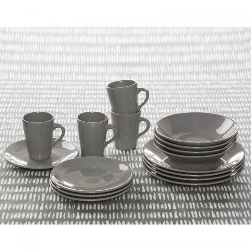 3S. x Home - Lot de 4 Assiettes à dessert en faïence - Gris - Arts de la table