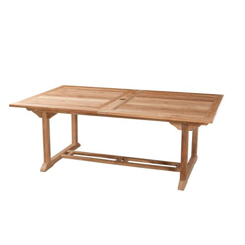 3 SUISSES - Table rectangulaire double extension 10/12 personnes en teck massif - Table de jardin