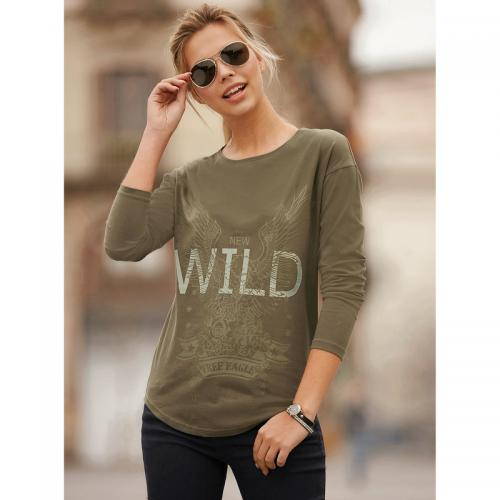 3 Suisses - Tee-shirt manches longues bas arrondi imprimé devant femme  exclusivité 3Suisses - 48db36c6abfd