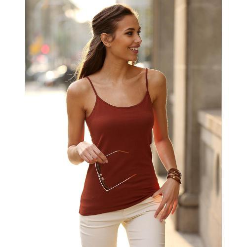 e32e206354176 Tee-shirt uni à bretelles maille élastique femme - Rouge