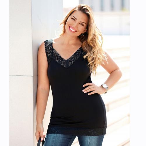 1e4216d307987 Tee-shirt à larges bretelles et dentelle femme - Noir