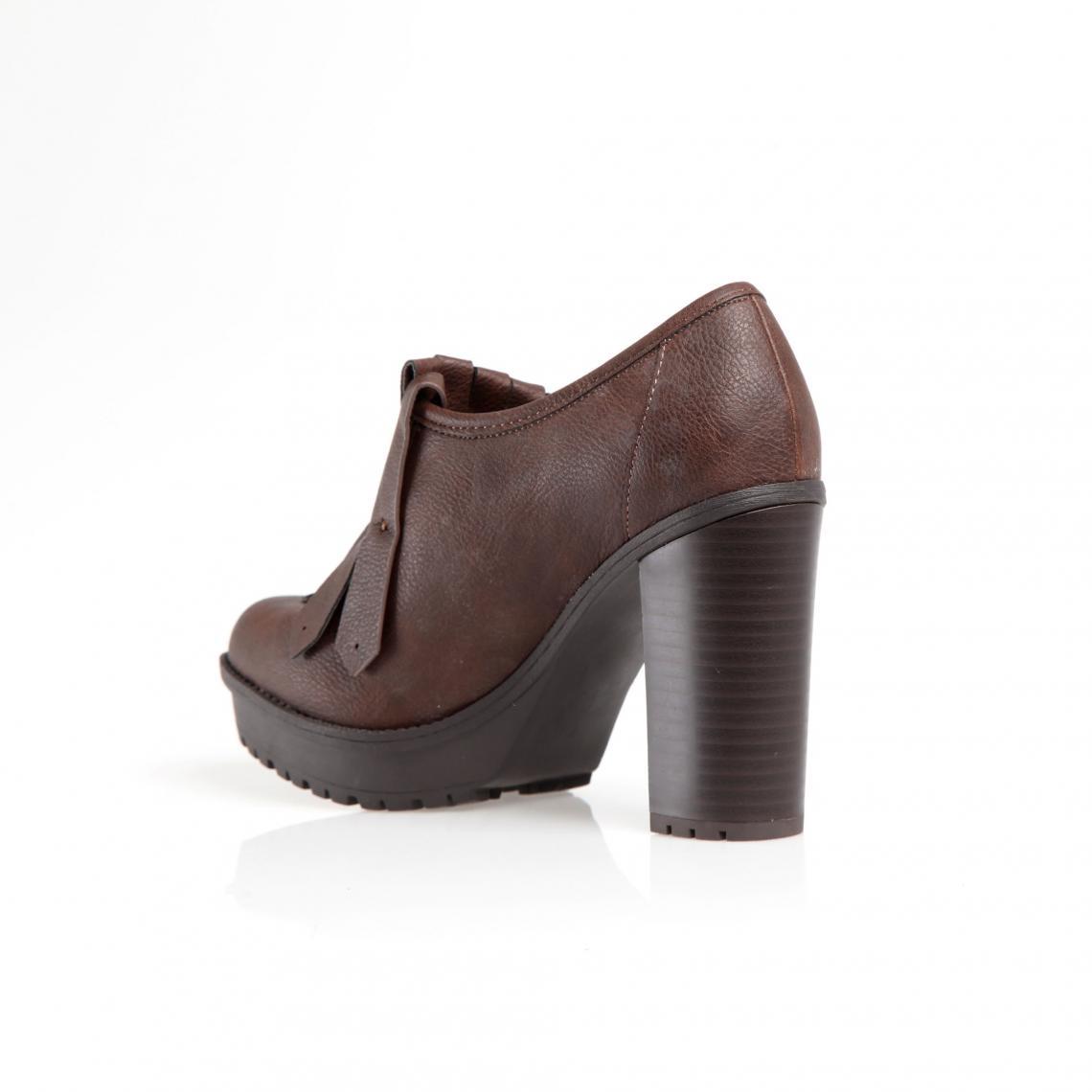0a415036807 Chaussures à talon franges et pompons femme - Marron 3 SUISSES