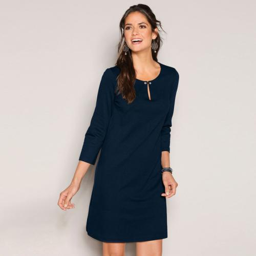 3 SUISSES - Robe courte col caftan manches 3/4 ouverture dos femme - Bleu Marine - Robe