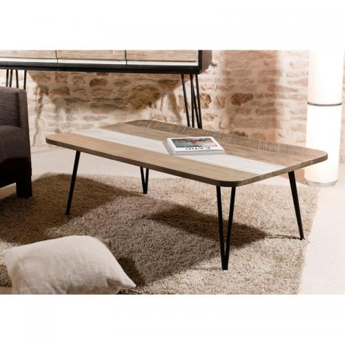 MACABANE - Table basse rectangulaire pieds épingle 120 x 70 cm style industriel - Multicolore - Table basse