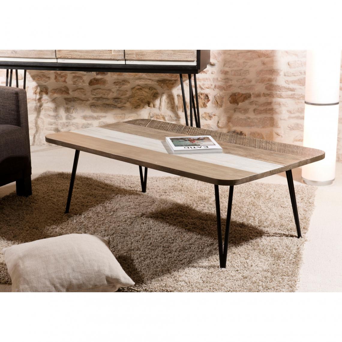 table basse rectangulaire pieds épingle 120 x 70 cm style industriel