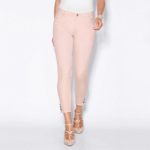 f63a5e9edae 3 SUISSES - Pantalon skinny 5 poches pressions sur bas femme - Rose -  Pantalons larges