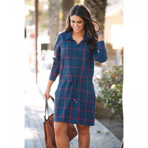 d71a354efb0 3 SUISSES - Robe-chemise manches longues ceinture à nouer à carreaux  grandes taille femme