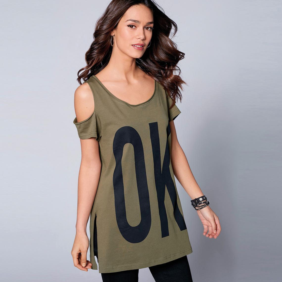 Tee-shirt fendu manches courtes ouverture sur épaules femme exclusivité  3Suisses - Kaki 3 Suisses 76f7497ae2b0