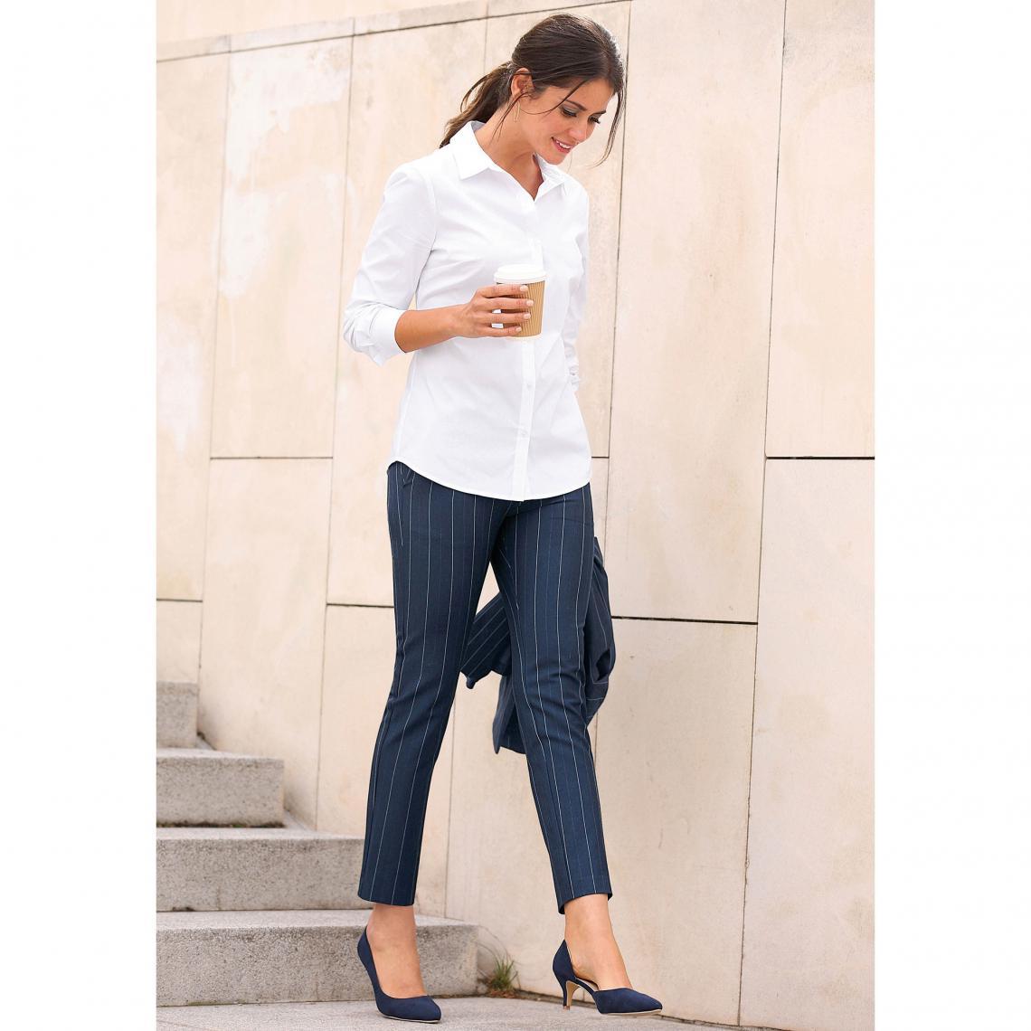 1d88709f74b23 Pantalon rayé taille élastique poches et pinces dos femme exclusivité  3Suisses - Rayé Bleu Marine 3