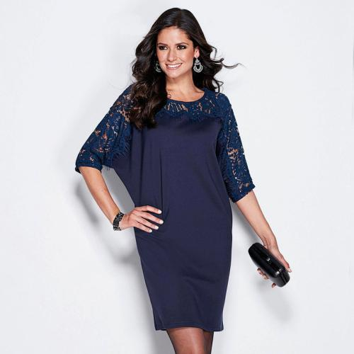 fb67879287bb 3 SUISSES - Robe courte manches courtes dentelle femme - Bleu - Robes femme