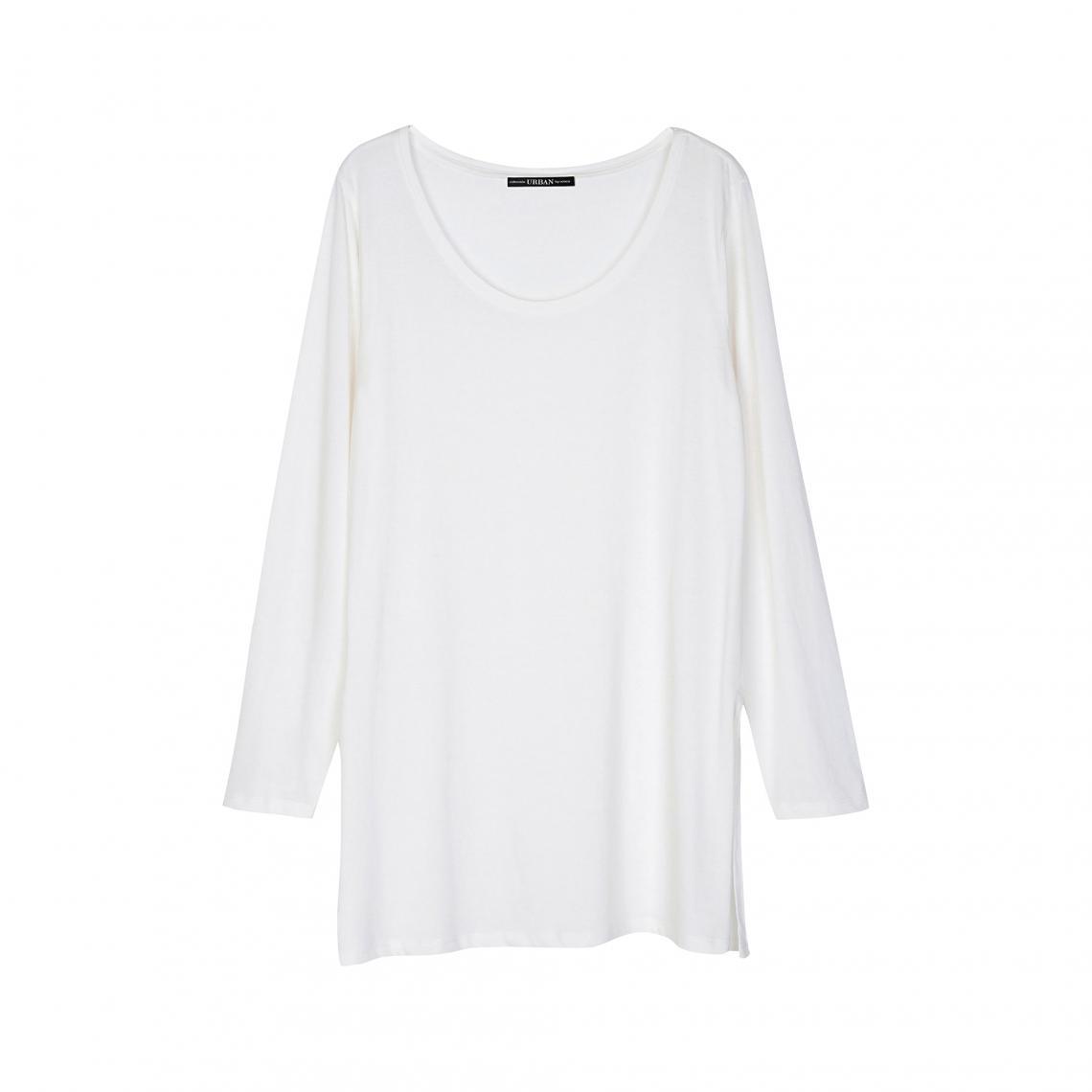 fcb0dcbffa454 Tee-shirt long fendu manches longues col rond femme - Blanc | 3 SUISSES