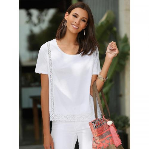 e67701caa27 3 SUISSES - Tee-shirt avec guipure manches courtes femme - Blanc - T-