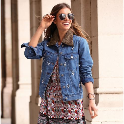 1643b63c8beb 3 SUISSES - Veste en jean col fourrure amovible et décorations femme - Bleu  - Vestes