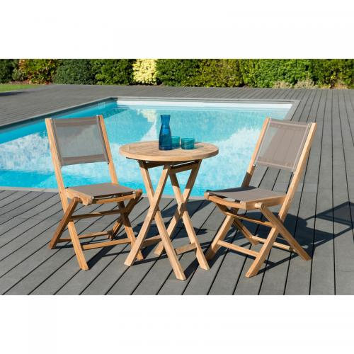 MACABANE - Ensemble table ronde pliante 60 cm + 2 chaises pliantes en teck massif et textile - Teck - Ensemble table, chaise