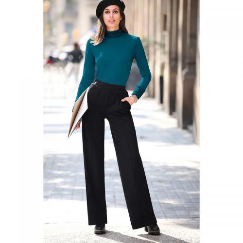 125a0ba4dc99b 3 Suisses - Pantalon droit taille haute élastique et poches femme  Exclusivité 3SUISSES - Noir -