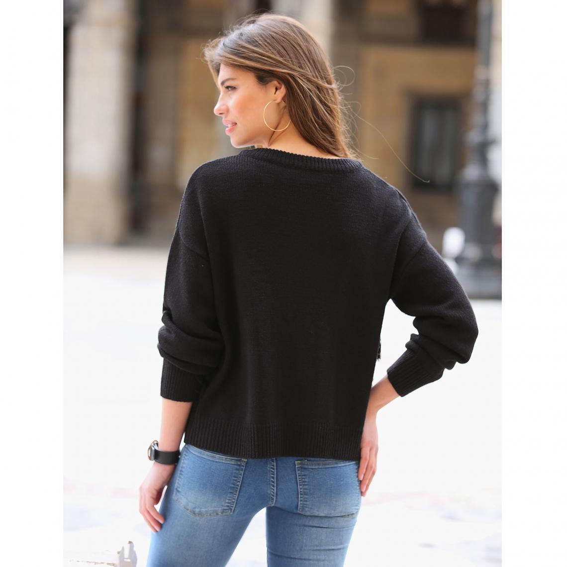 Gilets col rond femme 3 Suisses Cliquez l image pour l agrandir. Gilet  zippé manches longues et franges devant femme Exclusivité 3SUISSES - Noir  ... b1b606760b93