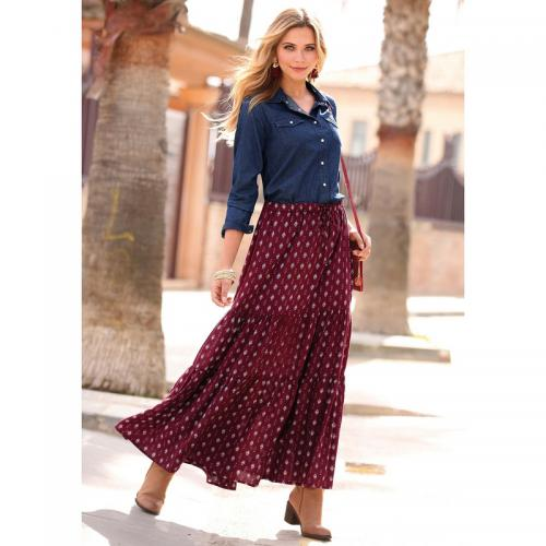ff372a58ad30 3 SUISSES - Jupe longue pans effet froncé taille élastique femme - Grenat -  Jupes femme